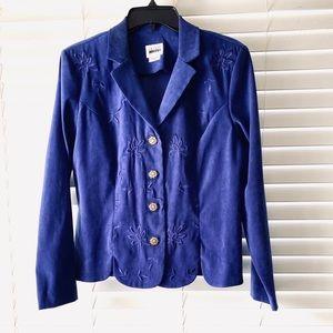 Leslie Fay VTG Faux Suede Royal Blue Formal Blazer